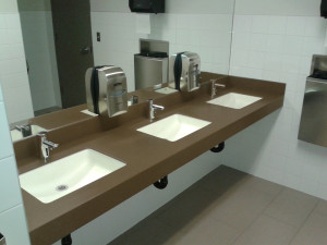 Commercial Cleaning Office Bathroom Sink And Counter Top Space