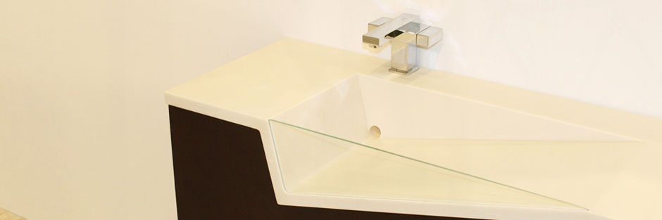 Slant Integrated Sink Countertop Concept in Karadon Solid Surface Vancouver