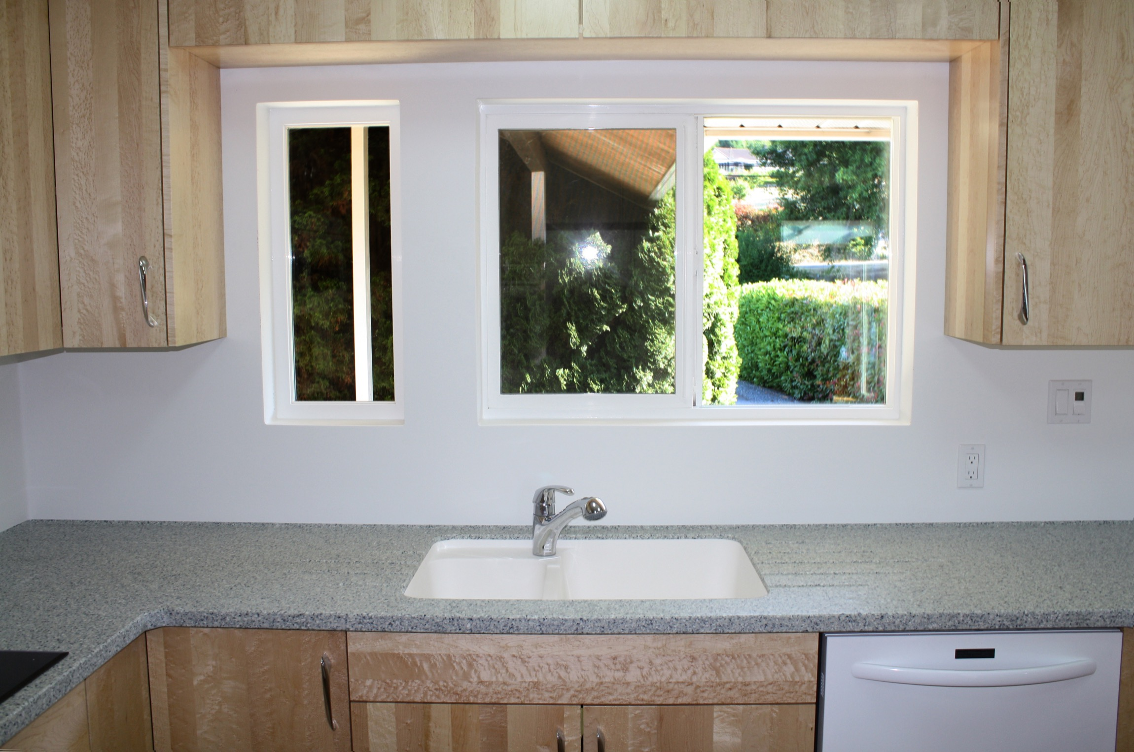 Vancouver Island Karadon Countertop And Full Height Backsplash Sink Area Two Design