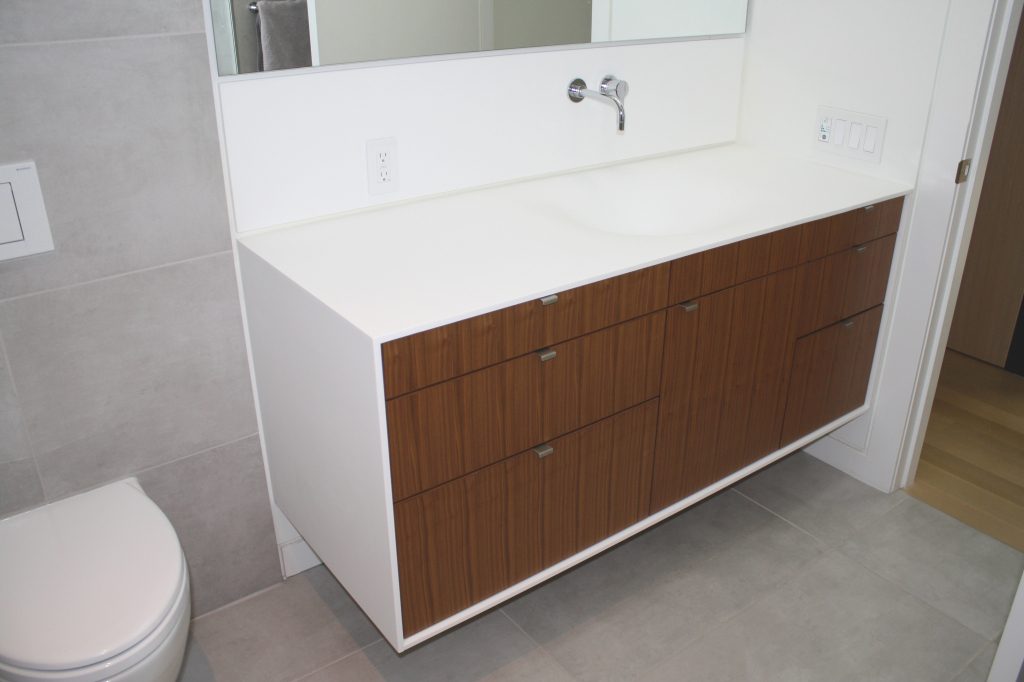 Vanishing custom thermoformed corian sink two and two design - Custom solid surface bathroom vanity tops ...
